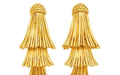 Pair of Gold Fringe Earclips, Tiffany & Co.