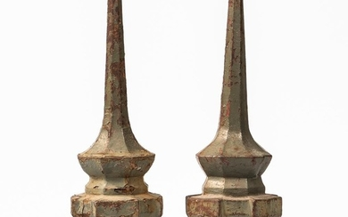 Pair of Green-painted Fence Post Finials