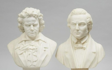 Pair of Italian School Alabster Busts, mid 20th century