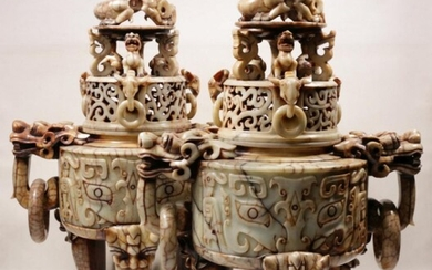Pair of Large Inticately Carved Soap Stone Chinese Censers With Lion Ring Handles And Finials (H: 84cm W:60cm D:38cm)