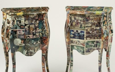 Pair of Louis XV Style Comic Book Motif Chests.