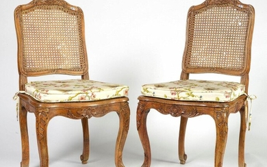 Pair of Regency style carved beechwood chairs with backrests and wickerwork seats. One stamped Lerouge (mastered on February 17, 1749). French work. Period: 18th century.