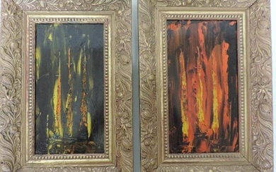 Pair of Small Gilt Framed Abstract Oils Auguste-Jean Gaudin...