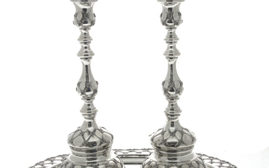 Pair of Sterling Silver Candlesticks on Tray Set.