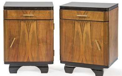 Pair of side tables in walnut root wood, with ebonised