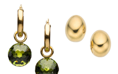 Peridot, Gold Earrings The lot includes a pair of...