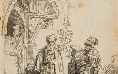 REMBRANDT (*1606), Three oriental figures (Jacob and Laban?), 1641, Etching