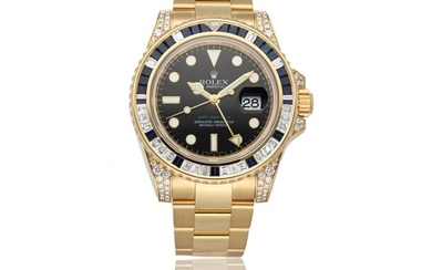 ROLEX | GMT-MASTER II REF 116758SA, A 18K YELLOW GOLD, DIAMOND AND SAPPHIRE-SET AUTOMATIC CENTER SECONDS WRISTWATCH WITH DATE AND BRACELET CIRCA 2007