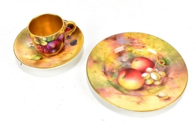 ROYAL WORCESTER; a matched fruit painted tea cup, saucer...