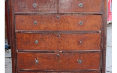 Regency Mahogany Break-down 2 Section Bow Front 4 + 2 Chest ...