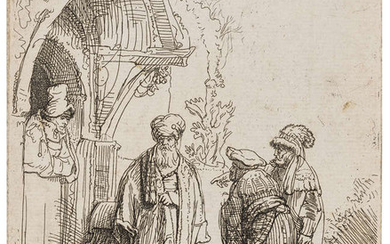 Rembrandt van Rijn (1606-1669) Three Oriental Figures (Jacob and Laban?)