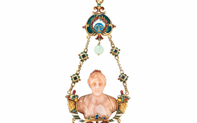 Renaissance Revival Gold and Hardstone Cameo Pendant