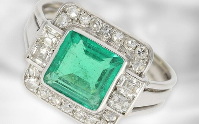 Ring: high quality vintage emerald/diamond gold forged platinum ring, emerald ca. 1,8ct, diamonds ca. 0,55ct