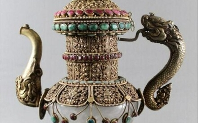 Rock Crystal Teapot Encrusted With Emeralds And Rubies