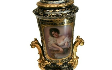 Royal Vienna Hand Painted Porcelain Urn