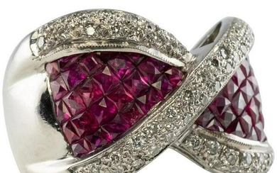 Ruby Diamond Band Ring 18K White Gold Bow