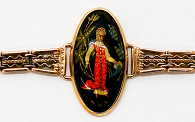 Russian 14k Gold Bracelet with Lacquered Center