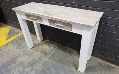 Rustic Timber Hall Table with Two Drawers (H:77 x W:120cm)