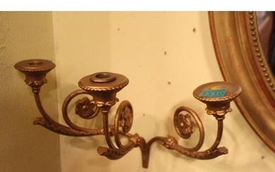 Set of 4 19th Century Gilt Metal 3 Branch Candle Wall Sconce...