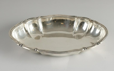 Silver dish, 830/000, oval contoured model with ribs