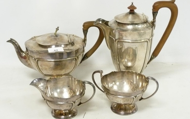Silver four piece tea set of Art Nouveau style, hemispherica...
