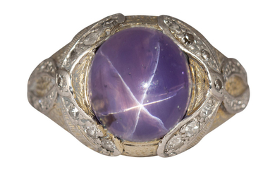 Star sapphire, diamond, white and yellow gold ring