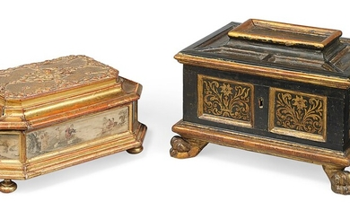 TWO NORTH ITALIAN TABLE CASKETS, 19TH CENTURY, POSSIBLY FLORENCE