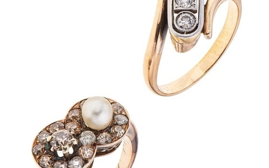 TWO RINGS WITH CULTURED PEARL AND DIAMONDS. 10K YELLOW GOLD