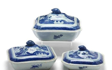 Three Chinese Export Blue Canton Vegetable Servers
