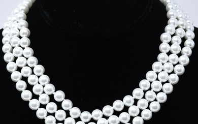 Three Hand Knotted 6 mm Pearl Necklace Strands