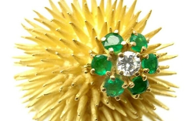 Tiffany & Co 18k Yellow Gold Diamond Emerald Sea Urchin