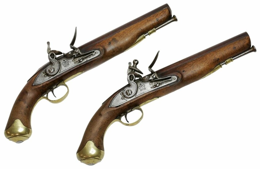 Two Other Rank's flintlock pistols of 'Light Dragoon' type, dating from after c. 1813 and proba...
