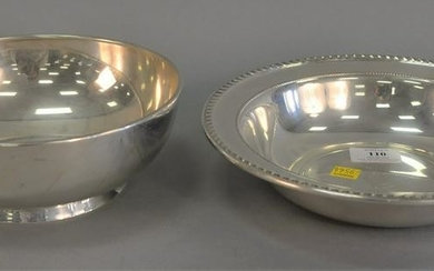 """Two sterling silver bowls, dia. 8 1/2"""", 10"""", 25.6 t.oz."""