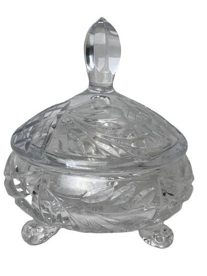VINTAGE CUT GLASS FOOTED CANDY DISH WITH LID