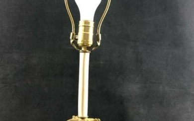 Vintage Mid Century Ornate Table Lamp Marble Color Gold
