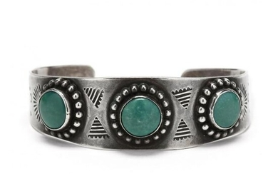 Vintage Navajo Silver and Turquoise Cuff