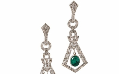 White Gold, Emerald, and Diamond Earrings