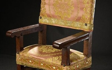 Wooden Chair with Silk Brocade Upholstery