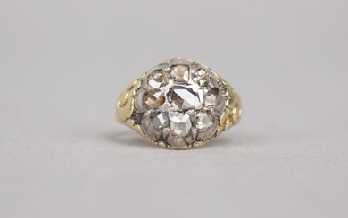 Yellow gold and rose cut diamonds dome ring.