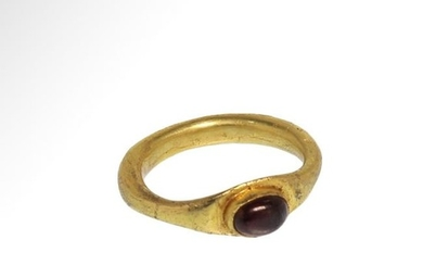 Roman Gold Ring with Garnet Cabochon, c. 2nd-3rd