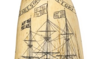 """SCRIMSHAW WHALE'S TOOTH DEPICTING """"NELSONS SHIP VICTORY""""ATTRIBUTED TO W. HILL Titled in banner that loops around a crown. The Victor.."""