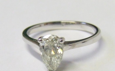 1.10ct. Diamond Solitaire Ring, pear shaped set 18ct. white...