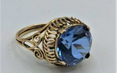 14 K Gold Ring with Blue Amethyst Size 7.5