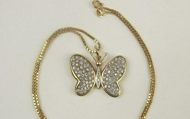 14ct Yellow Gold Diamond Butterfly Pendant Necklace