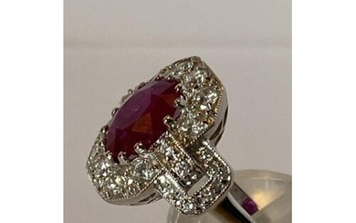 18 Carat White gold Burmese Ruby and Diamond Cluster Ring .R...