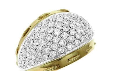 18 kt. Bicolour, White gold, Yellow gold - Ring - 4.00 ct Diamond