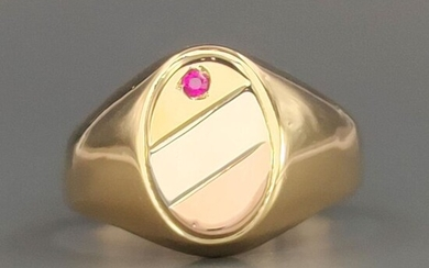 18 kt. Pink gold, White gold, Yellow gold - Ring - 0.03 ct Ruby