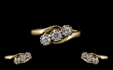 18ct Yellow and White Gold 3 Stone Diamond Set Ring of Excel...