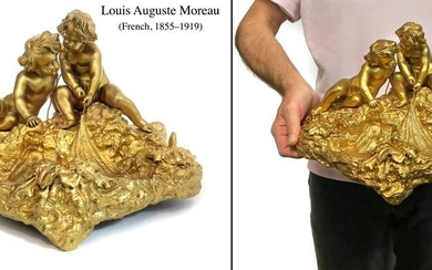 19th C. French Figural Bronze Inkwell Signed Louis