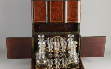 19th Century French rootwood liqueur cellar with boulle